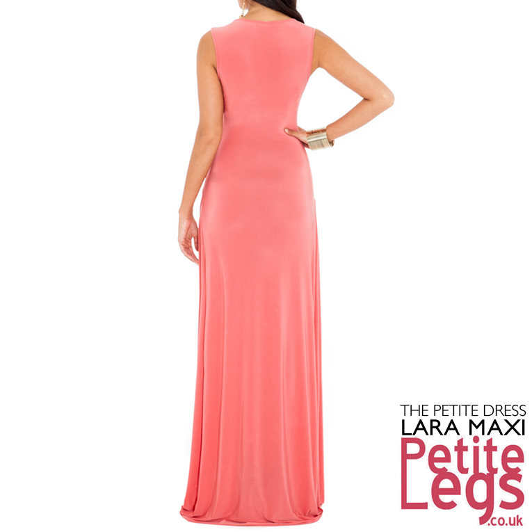 ab1942d592 Lara Crossover Plunge Neckline Maxi Dress in Luxe Coral Salmon Pink UK Size  12 Petite Height 5ft1